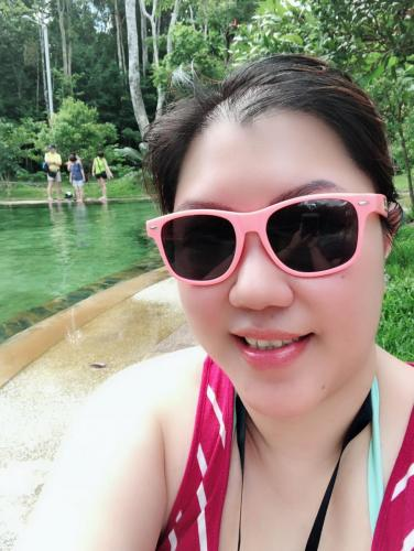 At the less crowded hot spring pool